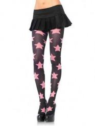 Collants estrelas cor-de-rosa adulto