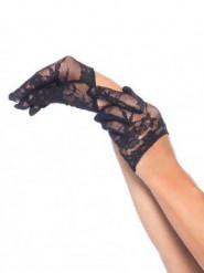 Mini luvas renda preta mulher