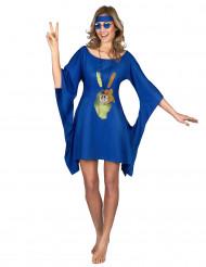 Disfarce vestido hippie azul peace & love mulher