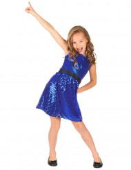 Disfarce vestido disco azul com lantejoulas e laço menina