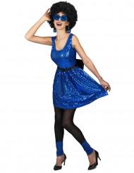 Disfarce vestido disco azul com lantejoulas e laço mulher