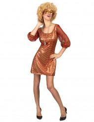 Disfarce vestido disco cor de laranja com lantejoulas mulher