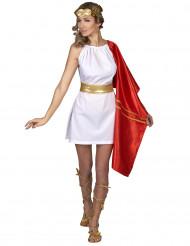 Disfarce romana vermelho e dourado mulher