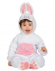 Disfarce coelho branco e cor-de-rosa bébé
