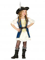 Disfarce capitão pirata azul menina