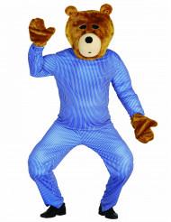 Kit cabeça e mãos de urso de peluche adulto