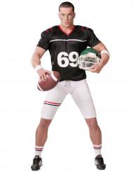 Disfarce de jogador de futebol americano preto e branco homem