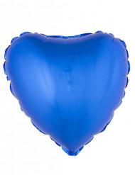 Balão alumínio coração azul 45 cm