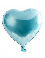 Balão alumínio coração azul claro 45 cm