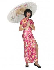 Disfarce japonesa cor-de-rosa com flores mulher