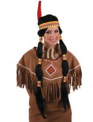 Peruca comprida preta índia mulher