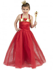 Disfarce princesa dos corações vermelhos menina
