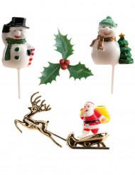 Kit de 6 decorações para bolo de Natal