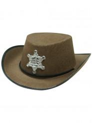 Chapéu xerife castanho criança