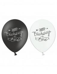 6 Balões Happy Birthday preto e branco