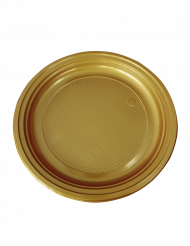 50 Pratos pequenos em plástico dourado