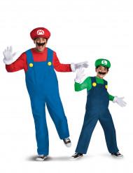 Disfarce de casal Mario™ e Luigi™ adultoPai e filho