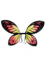 Asas borboleta de cores vivas menina