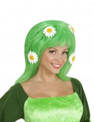 Peruca verde com margaridas mulher