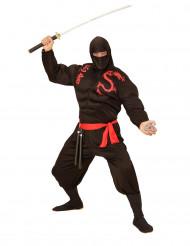 Disfarce ninja musculoso preto adulto
