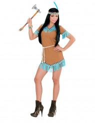 Disfarce índia castanho e azul mulher