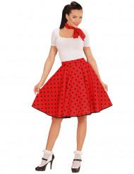 Disfarce anos 50 vermelho às bolas pretas mulher