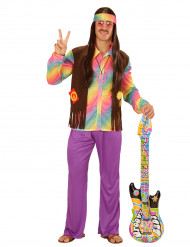 Disfarce hippie colorido homem