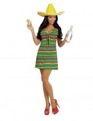 Disfarce vestido mexicano mulher