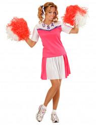 Disfarce de pompom girl cor-de-rosa e branco mulher