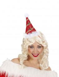 Chapéu pontudo vermelho com azevinho adulto Natal