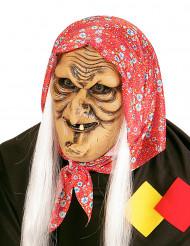 Meia máscara feiticeira velha com cabelos brancos adulto