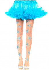 Collants cor da pele com flocos azuis mulher