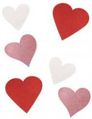6 Decorações de cartão coração com brilhantes