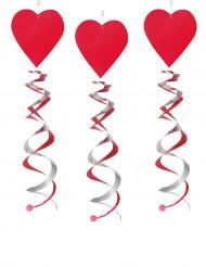 3 Decorações de pendurar espiral coração vermelho 60 cm