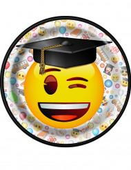 8 Pratos pequenos de cartão Emoji™ 17 cm