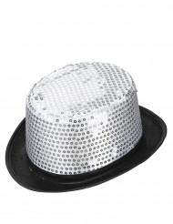 Chapéu alto prateado com lantejoulas adulto