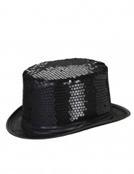 Chapéu alto preto com lantejoulas adulto