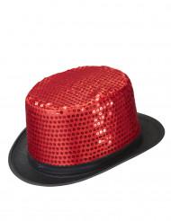 Chapéu alto vermelho com lantejoulas