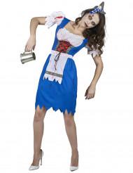 Disfarce zombie bávara azul mulher