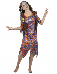 Disfarce zombie hippie mulher