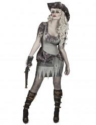 Disfarce pirata fantasma cinzenta mulher