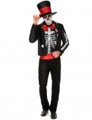 Disfarce esqueleto Dia de los muertos homem