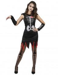 Disfarce esqueleto coração vivo mulher