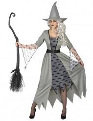 Disfarce bruxa cinzenta mulher