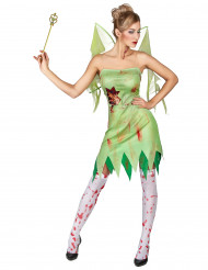 Disfarce fada verde sangrenta mulher