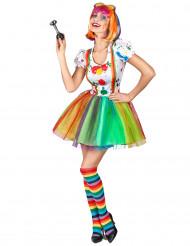 Disfarce palhaço pintura colorida mulher