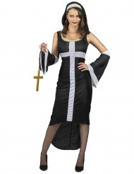 Disfarce freira sexy cruz branca mulher
