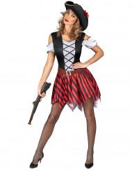 Disfarce pirata listrado vermelho e preto - mulher