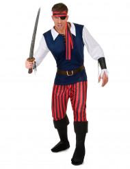 Disfarce pirata listrado vermelho e preto - homem