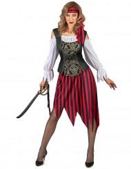 Disfarce pirata mulher com saia às riscas